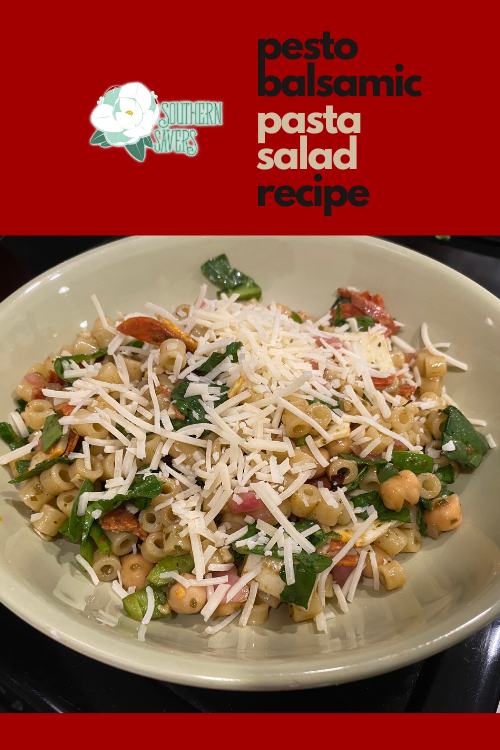 Looking for a more exciting pasta salad recipe? This pesto balsamic pasta salad is full of veggies, protein, and a delicious flavor combo!