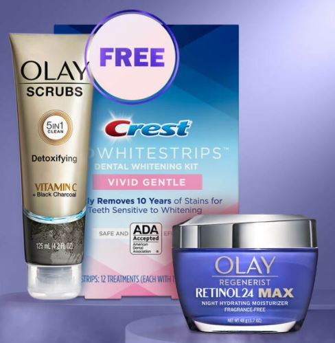 free olay and crest whitestrips